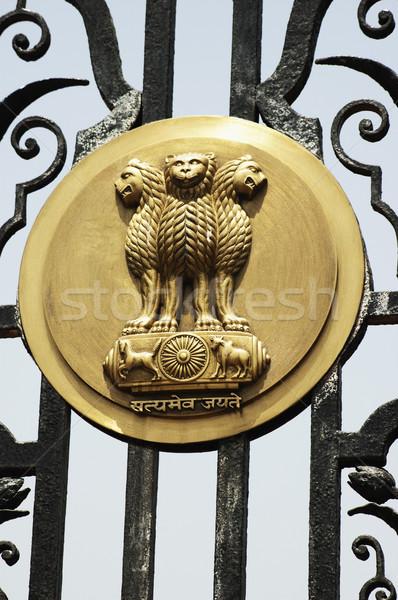 Embléma indiai kapu kormány épület Új-Delhi Stock fotó © imagedb