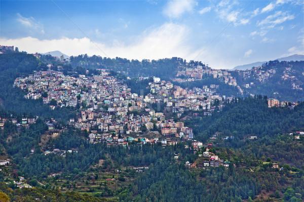 High angle view of buildings on a mountain, Shimla, Himachal Pra Stock photo © imagedb