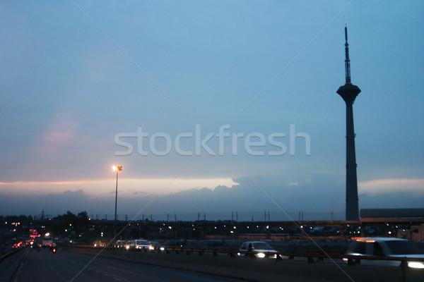 Forgalom út tv torony Delhi India Stock fotó © imagedb