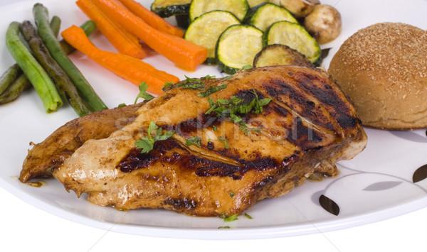 鶏の胸肉 パン 野菜 プレート 鶏 肉 ストックフォト © imagedb