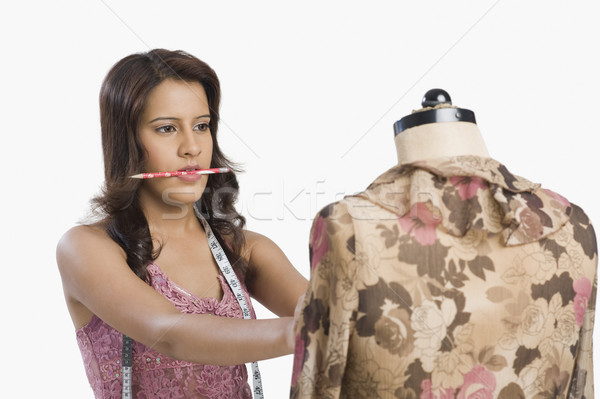 Vrouwelijke mode ontwerper jurk etalagepop potlood Stockfoto © imagedb