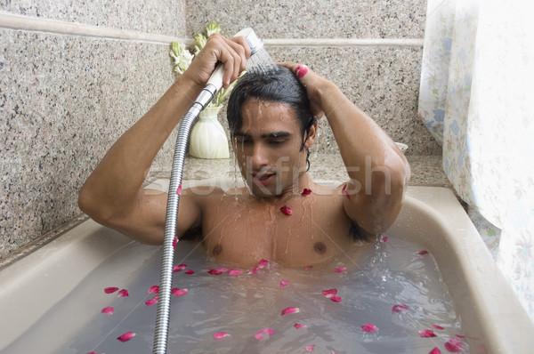 человека душу ванна расслабиться занавес Сток-фото © imagedb