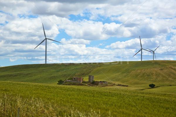 風力タービン 丘 風景 フィールド 緑 ファーム ストックフォト © imagedb
