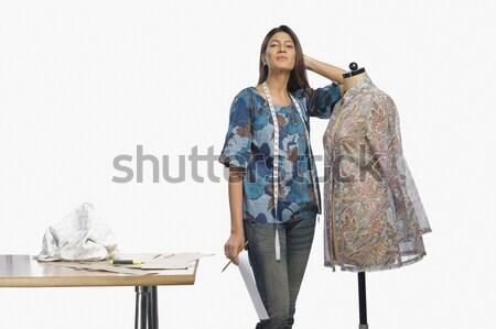 Vrouwelijke mode ontwerper potlood tabel werken Stockfoto © imagedb