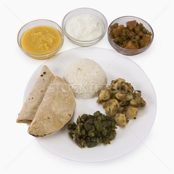 Indiaas eten diner rijst aardappel maaltijd Stockfoto © imagedb