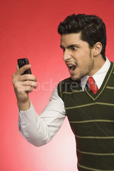 Affaires téléphone portable homme technologie rouge Photo stock © imagedb