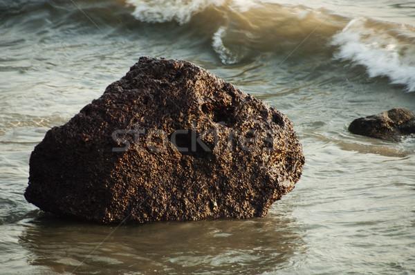 Kő tengerpart Goa India hullám fotózás Stock fotó © imagedb