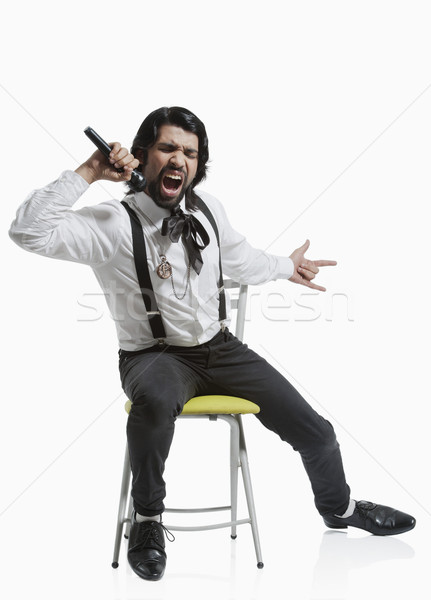şarkıcı şarkı söyleme müzik oturma 20s Stok fotoğraf © imagedb