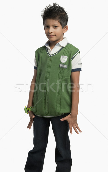 肖像 少年 笑みを浮かべて ファッション 子 緑 ストックフォト © imagedb