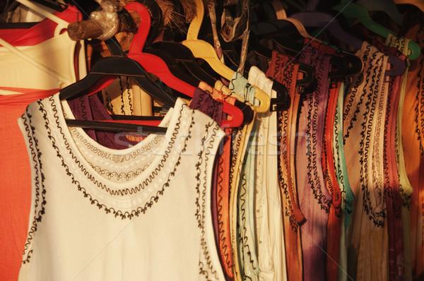 Ruhák akasztás ruházat bolt Goa India Stock fotó © imagedb