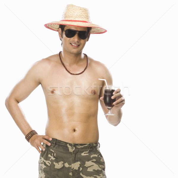 Młody człowiek szkła napój bezalkoholowy człowiek Zdjęcia stock © imagedb