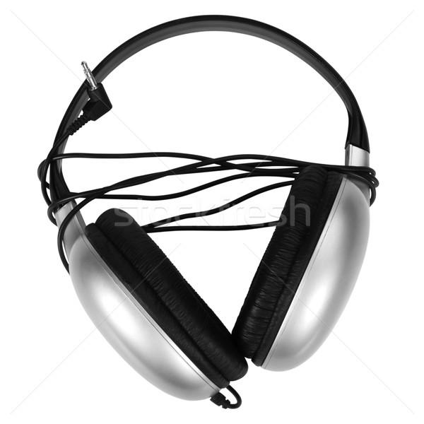 Közelkép fejhallgató technológia fekete szórakoztatás felszerlés Stock fotó © imagedb