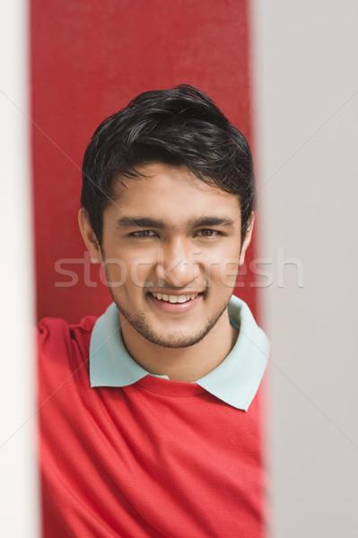Portre adam gülen kırmızı tişört mutluluk Stok fotoğraf © imagedb
