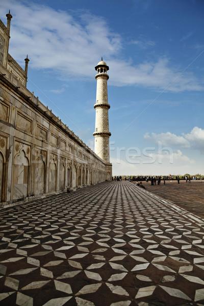 Turisták mauzóleum Taj Mahal India világ háttér Stock fotó © imagedb