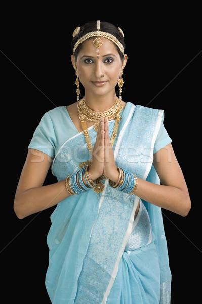 Portre kadın tebrik dua pozisyon güzellik Stok fotoğraf © imagedb