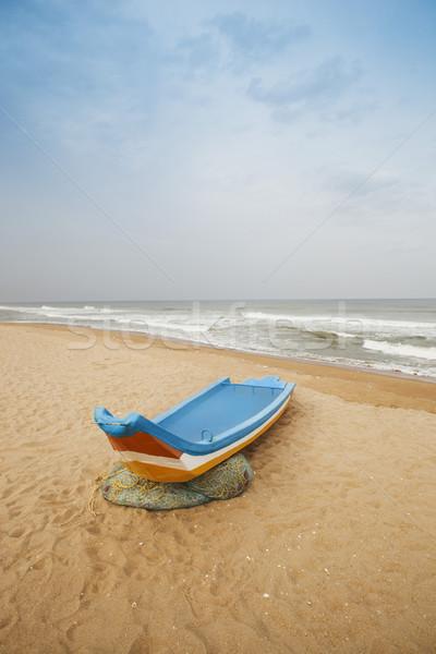Plaj Hindistan gökyüzü kum tekne Stok fotoğraf © imagedb
