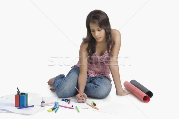 Vrouwelijke mode ontwerper business pen kunst Stockfoto © imagedb