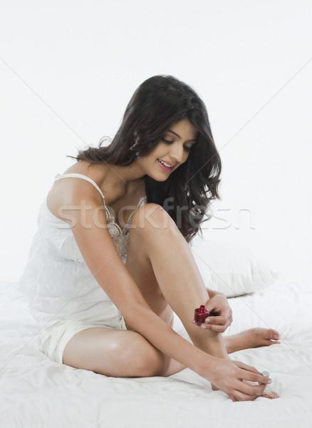 женщину лак для ногтей моде Живопись молодые Сток-фото © imagedb