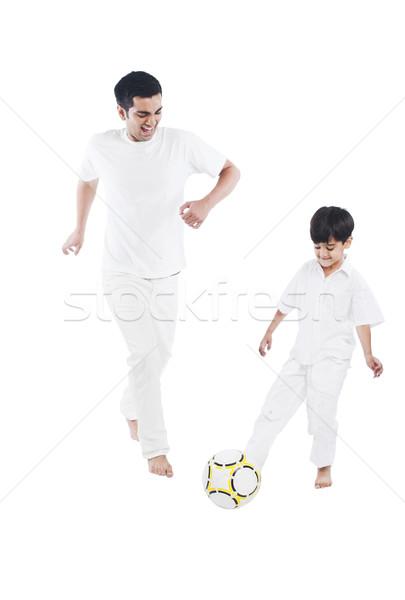 Heureux père en fils jouer football famille père Photo stock © imagedb