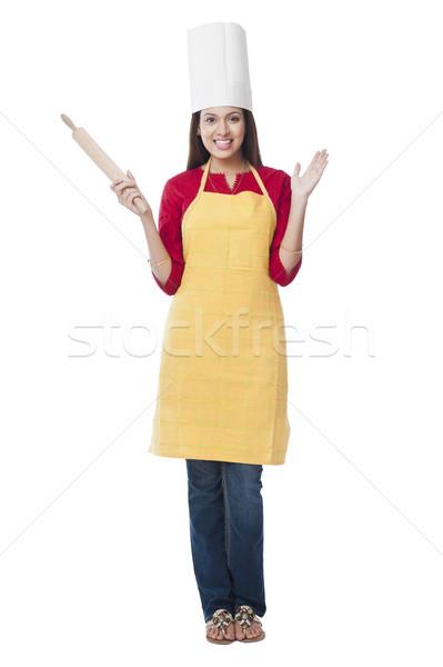 Portre mutlu kadın pin haddeleme ayakta Stok fotoğraf © imagedb