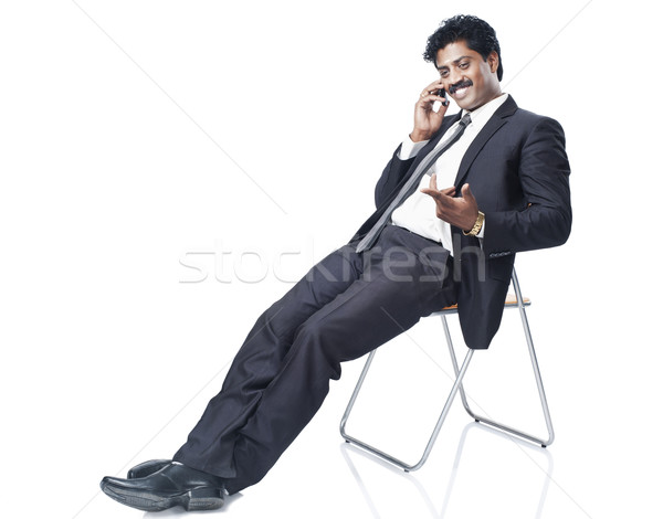 Zuiden indian zakenman praten mobiele telefoon technologie Stockfoto © imagedb