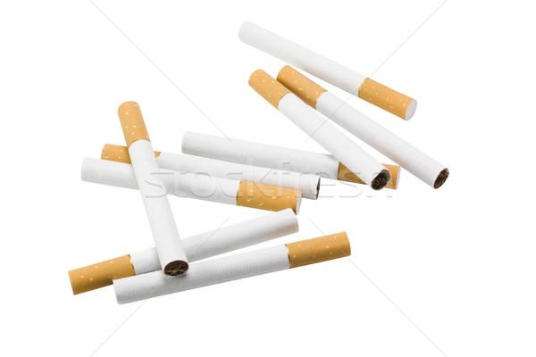 Cigarros grupo fumador horizontal fundo branco Foto stock © imagedb