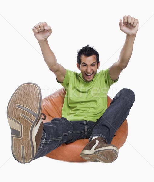 Retrato homem saco de feijão jeans camisetas Foto stock © imagedb