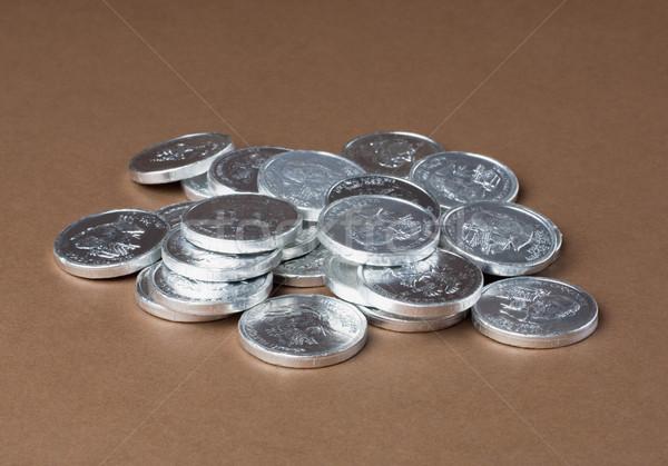 Közelkép érmék pénz csoport pénzügy siker Stock fotó © imagedb