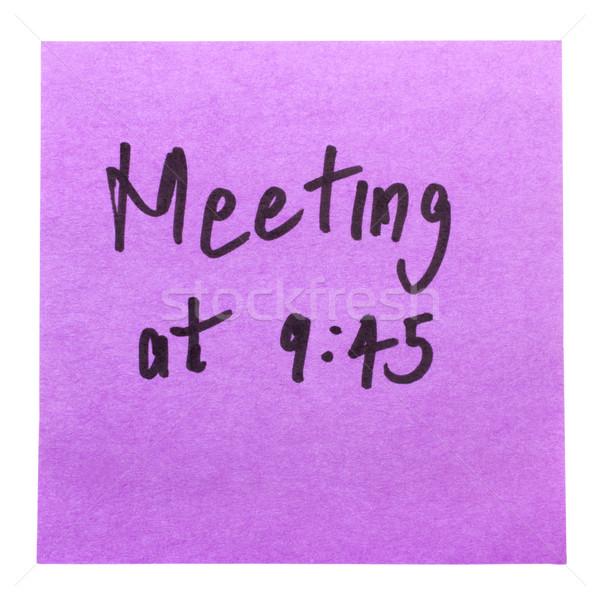 Kelime toplantı yazılı yapışkan dikkat kâğıt Stok fotoğraf © imagedb