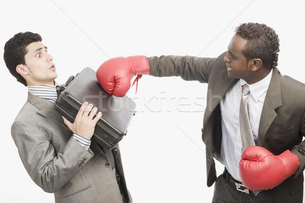 Сток-фото: бизнесмен · бизнеса · спорт · гнева · насилия · портфель