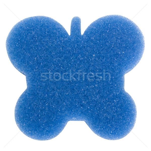 Közelkép pillangó alakú fürdőkád szivacs kék Stock fotó © imagedb