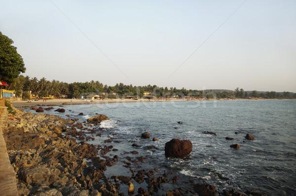 Kövek part Goa India víz tenger Stock fotó © imagedb