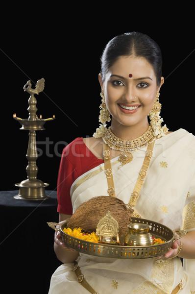 Сток-фото: портрет · юг · индийской · женщину · пластина