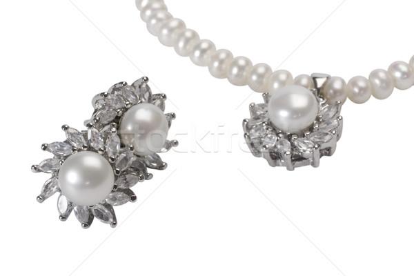 Perle Ohrringe Kette Mode Schmuck Stock foto © imagedb