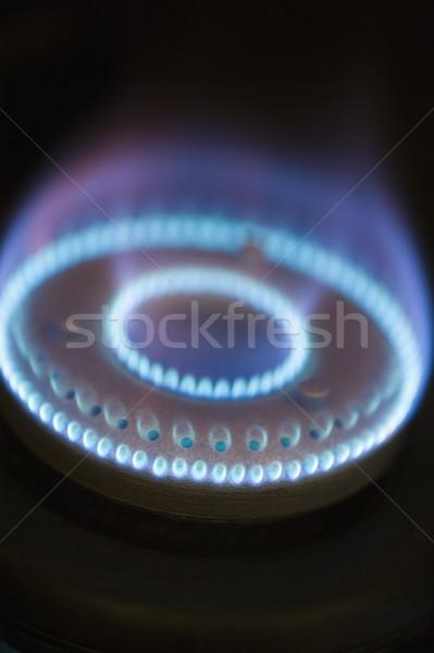 Primo piano fiamme gas stufa cucina blu Foto d'archivio © imagedb