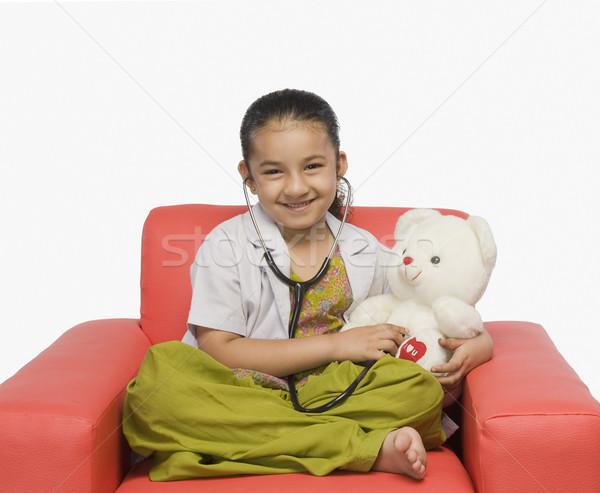 Kız oyuncak ayı stetoskop doktor çocuk Stok fotoğraf © imagedb