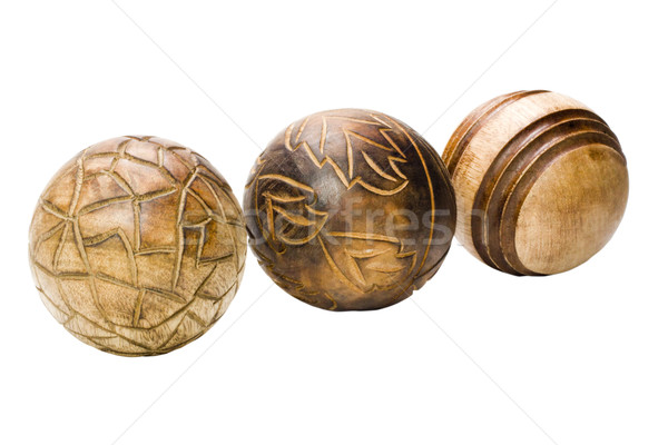 Dekorativ Holz Kugeln Holz Kunst Stock foto © imagedb