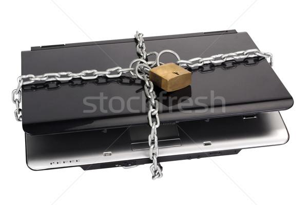 Laptop cadeia cadeado segurança comunicação preto Foto stock © imagedb