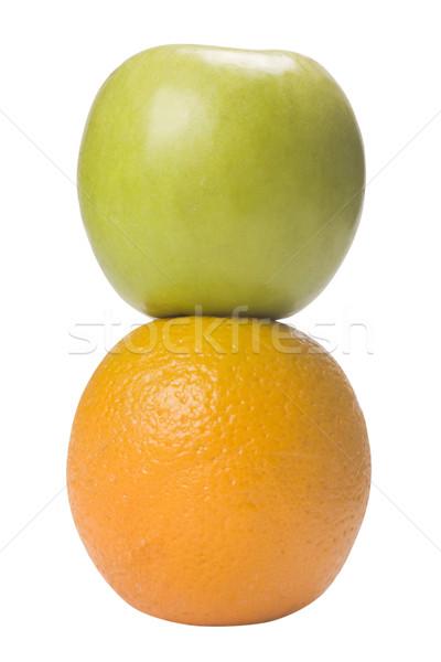 Közelkép narancs zöld alma gyümölcs közelkép Stock fotó © imagedb