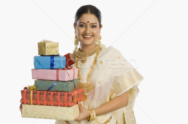 肖像 女性 贈り物 笑みを浮かべて 小さな ストックフォト © imagedb