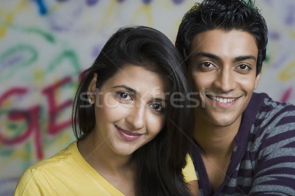 Portret paar glimlachend mannelijke geluk vriendschap Stockfoto © imagedb