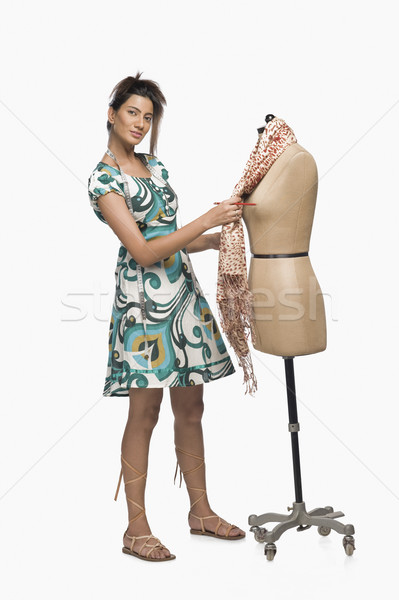 Vrouwelijke mode ontwerper jurk etalagepop creativiteit Stockfoto © imagedb