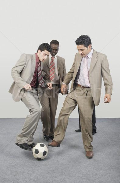 4 ビジネスマン 演奏 サッカーボール ビジネス 立って ストックフォト © imagedb