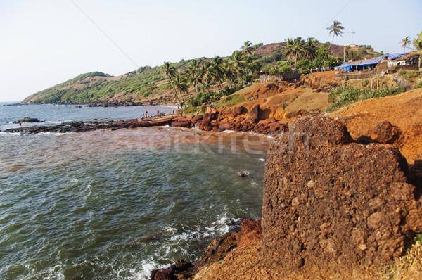 Kő part Goa India víz fotózás Stock fotó © imagedb
