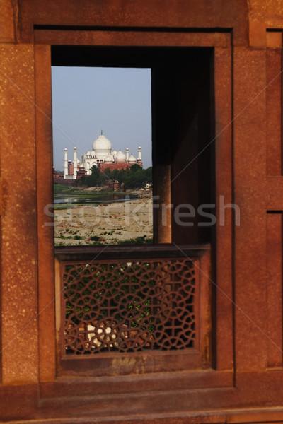 Mauzóleum ablak erőd Taj Mahal iszlám ősi Stock fotó © imagedb