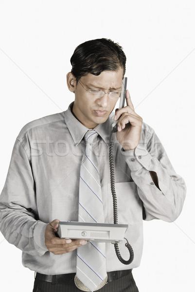 Empresario hablar teléfono teléfono hombre hombres Foto stock © imagedb