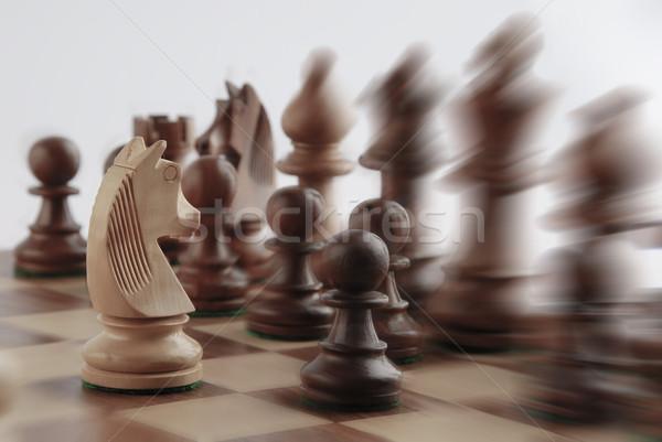 白 騎士 向い 黒 チェスの駒 グループ ストックフォト © imagedb
