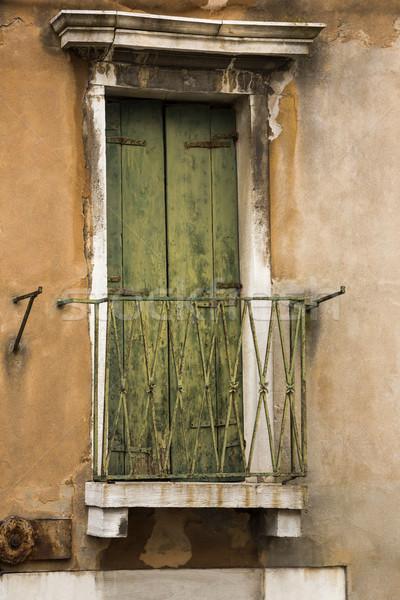 Zárva ajtó erkély Velence történelem biztonság Stock fotó © imagedb