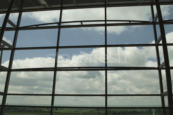 Felhők repülőtér társalgó ablak dugó köztársaság Stock fotó © imagedb