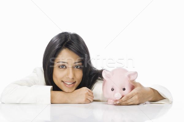 Portret zakenvrouw spaarvarken vrouw jonge manager Stockfoto © imagedb